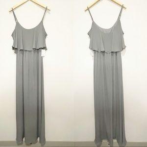 Show Me Your Mumu Caitlin Ruffle Maxi Dress Gray